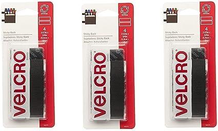 "Industrial Strength Tape 4/"" x 2/"" Strips Black VELCRO Brand 2 Sets"