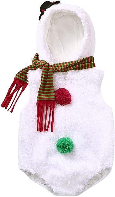 BBSMLIN Disfraz Bebe Niña Navidad Conjunto Mameluco + Raya Bufanda ...