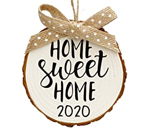 Home Sweet Home 2020 Wood Slice Christmas Ornament (Gift Box Included) White w/Burlap
