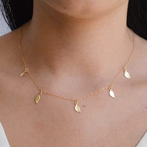 Delicate Leaf Necklace Autumn Jewelry Solid 14k Leaf Necklace Minimalist Leaf Necklace 14k Gold Leaf Necklace Solid Gold Leaf Necklace