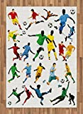 Boy's Room Area Rug by Lunarable, Collection of Soccer Players in Different Positions Hitting the Ball Goal Win, Flat Woven Accent Rug for Living Room Bedroom Dining Room, 5.2 x 7.5 FT, Multicolor