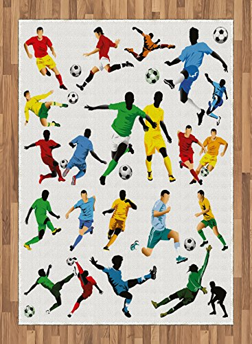 Boy's Room Area Rug by Lunarable, Collection of Soccer Players in Different Positions Hitting the Ball Goal Win, Flat Woven Accent Rug for Living Room Bedroom Dining Room, 5.2 x 7.5 FT, Multicolor by Lunarable