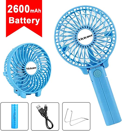 Mini USB Table Desk Personal Fan Handheld Mini Personal Portable Cooling Fan with USB Rechargeable Electric for Office Outdoor Household Traveling 2 Speed Metal Design Quiet Operation USB Cable Fan