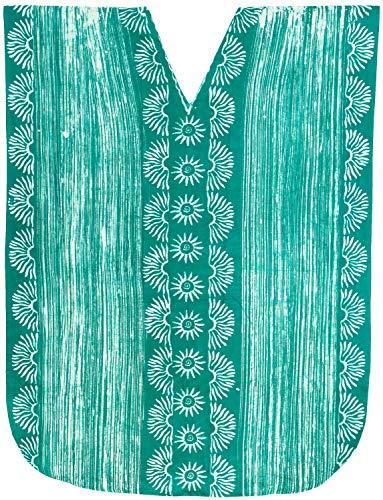 LA LEELA Ladies Batik Caftan Plus Size Cover up Dress Green_X881 OSFM 14-18W