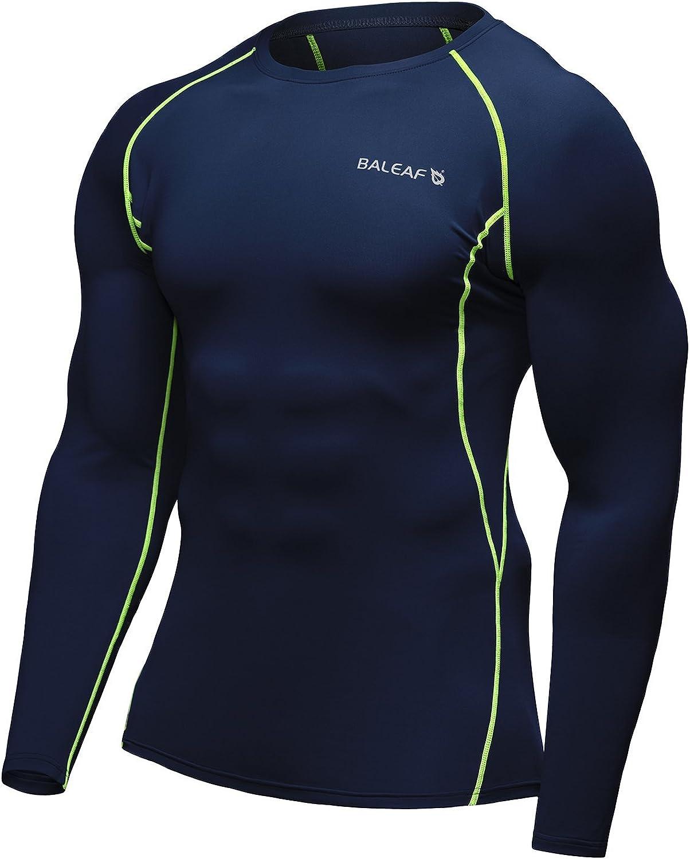 Amazon.com: BALEAF Men's Cool Dry Skin Fit Long Sleeve Compression Shirt Navy Size XL: Clothing
