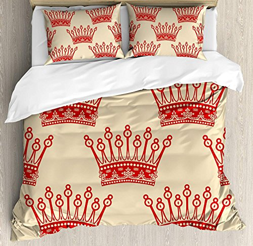 Queen Duvet Cover Set Queen Crowns Pattern in Red Vintage Design Coronation Imperial Kingdom Nobility Theme Bedding Set 4 Piece Lightweight Bed Comforter Covers Includes 2 Pillow Shams Orange and Tan (4 Coronation Light)