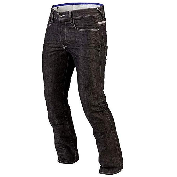 Juicy Trendz Hombre Motocicleta Pantalones Moto Pantalón Mezclilla Jeans con Protección Aramida Negro