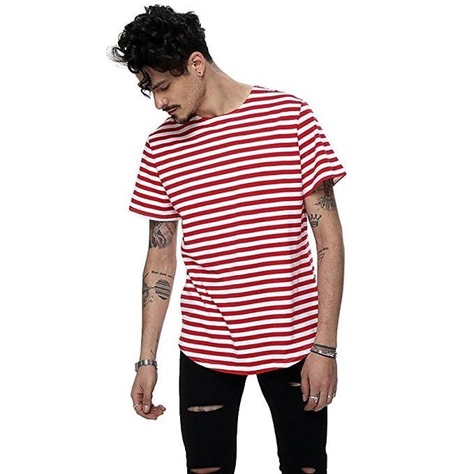 dceb39483e LANDFOX Los Hombres Sueltan Rayas Cortas Manga Camiseta de impresión  Agujero Casual Blusa Tops (L