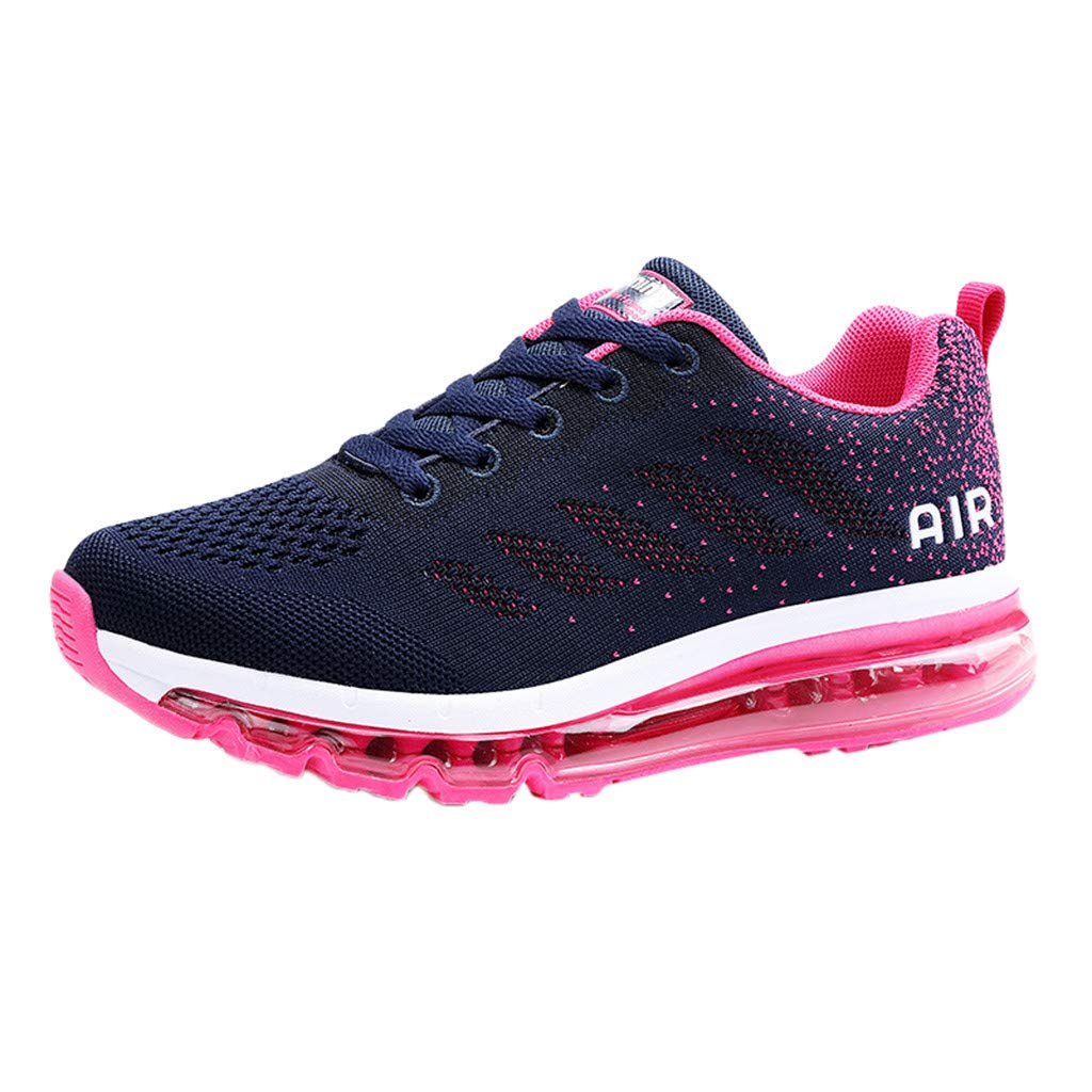 HOSOME Couple Walking Casual Shoes Air Cushion Running Jogging Sports Walking Breathable Training Sport Sneakers Hot Pink