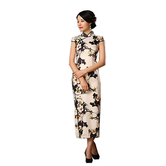 purchase cheap d91bc ee79b YueLian Lungo Cheongsam con Spacchi Profondi Vestito Beige e ...