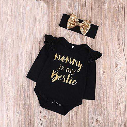"""Newborn Baby Girls Clothes Floral /""""Mommy is My Bestie/"""" Bodysuit Romper+Headband"""