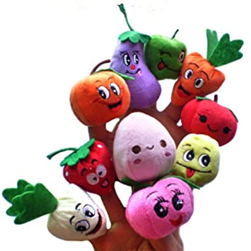 Cooplay 10 x Cartoon sourire Fruits Et Légumes doigt Marionnette enfants en peluche fait main pour
