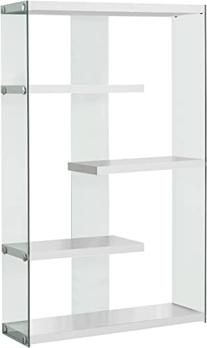 Monarch Specialties I Tempered Glass Bookcase, 60 , Glossy White