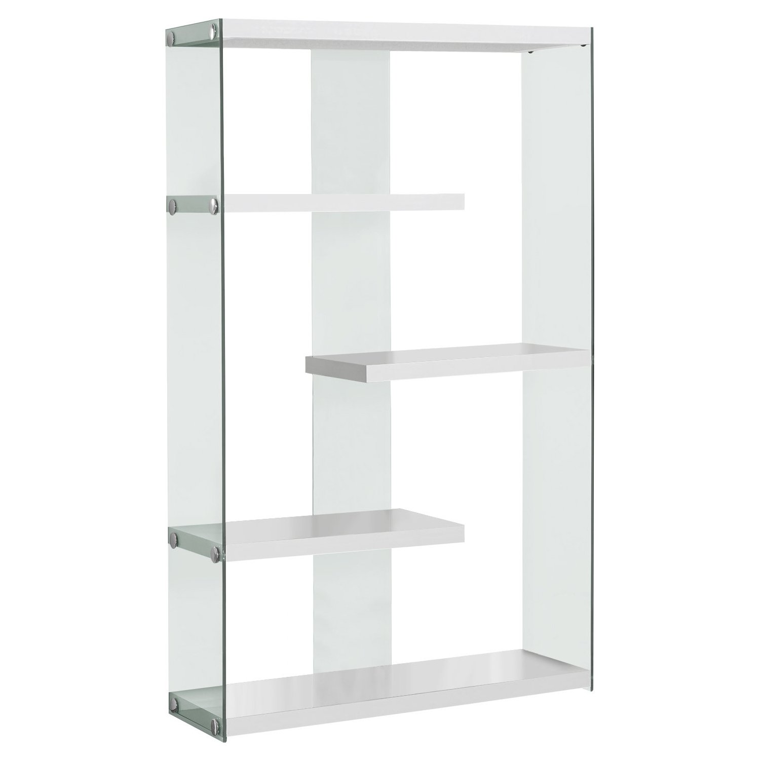 Monarch Specialties I Tempered Glass Bookcase, 60'', Glossy White by Monarch Specialties