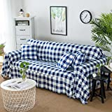 HM&DX Polyester Sofa cover Protector,1-piece Checker Anti-slip Wear resistant Sofa slipcover Decorative Furniture Protector For 1 2 3 4 cushion couch-navy 190x200cm(75x79inch)