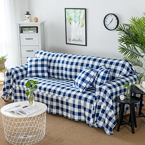 (QINQIN Plaid Sofa Cover,Modern Simple All Inclusive Sofa slipcover Sofa Towel Cover Non-Slip Breathable Stretch slipcover -F 160x300cm(63x118inch))