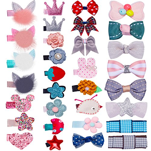 32Pcs Snap Hair Clips Lovely Metal Baby Hair Clip Barrettes for Girls Toddlers Kids Hair Accessories -