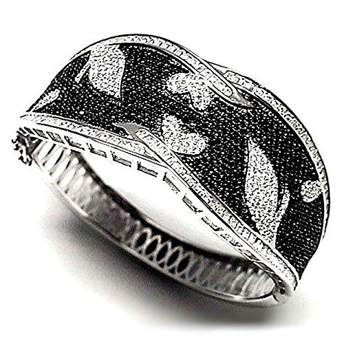 Bracelet 925m bracelet en argent pierres noires Loi zircone cubique [AB0916]