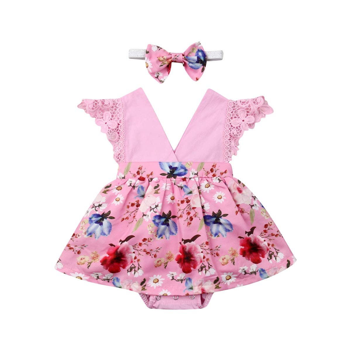 Toddler Baby Girl 2Pcs Romper Headband Floral Sleeveless Lace Infant Newborn Jumpsuit Sets