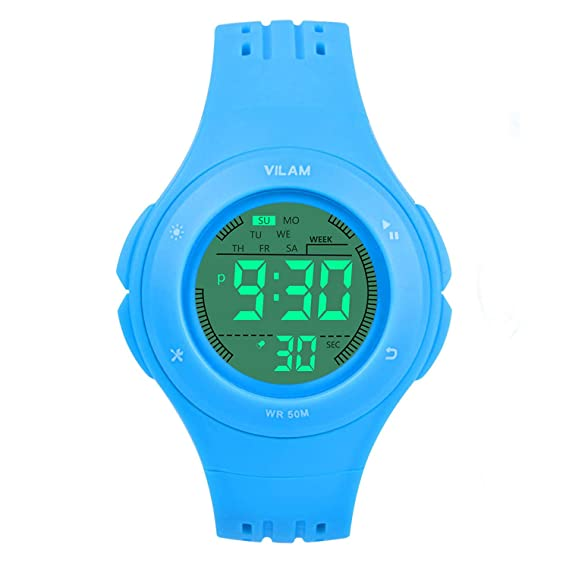 e868eff1d00 Kids Watch Sport Waterproof Multi Function Digital Wristwatch for Boy Girl  Children Gift Outdoor Kids Digital Sport Watch with 7 Colorful LED Lights  and ...
