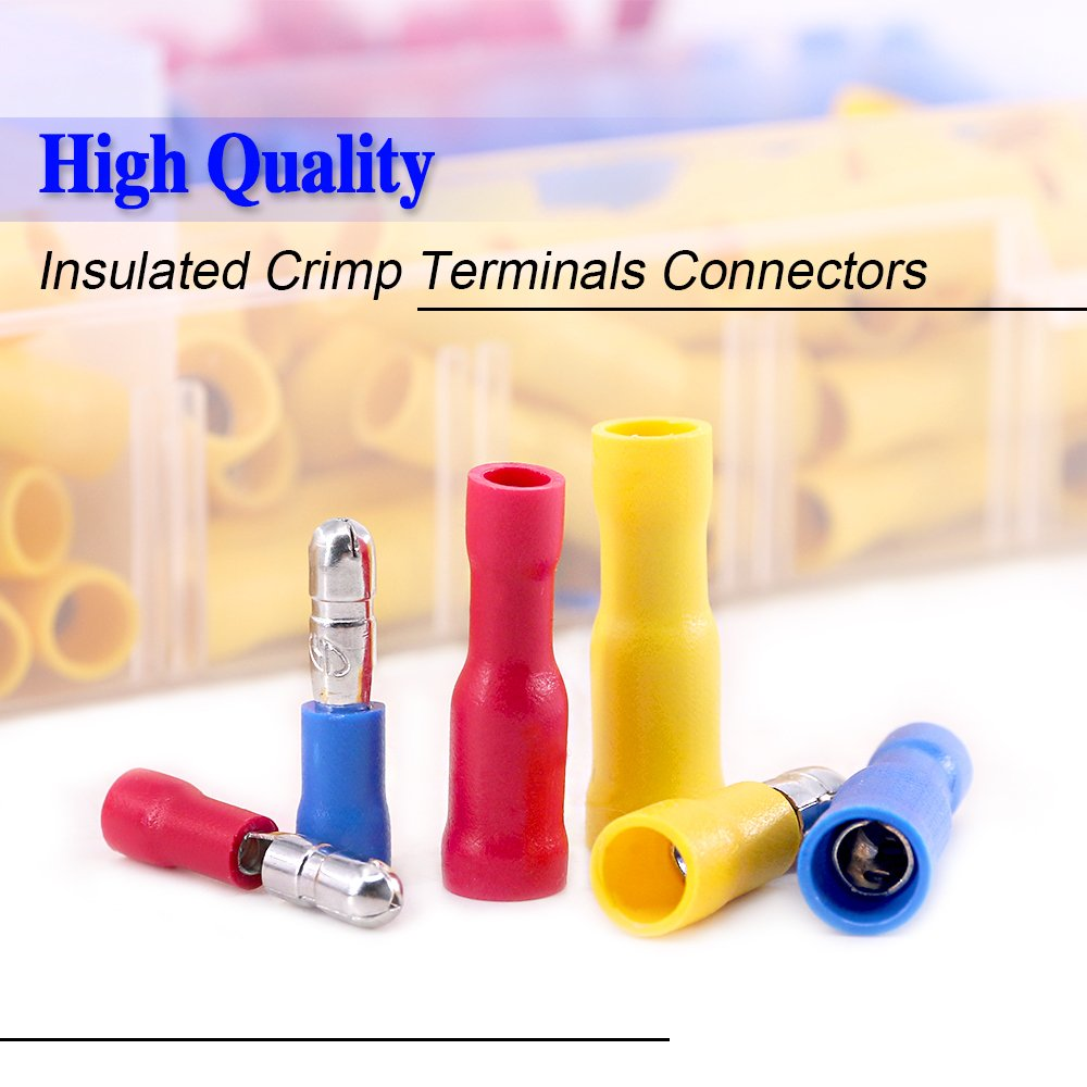 Glarks 300pcs 22-16//16-14//12-10 Gauge Insulated Quick Splice Female//Male Bullet Crimp Terminals Connectors Assortment Kit