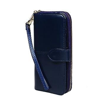 xhorizon TM Monedero de Cuero de Mujeres con Capacidad Grande de Cremallera Bolso con Correa para la Muñeca Desmontable para iphone 7 7 Plus Samsung ...