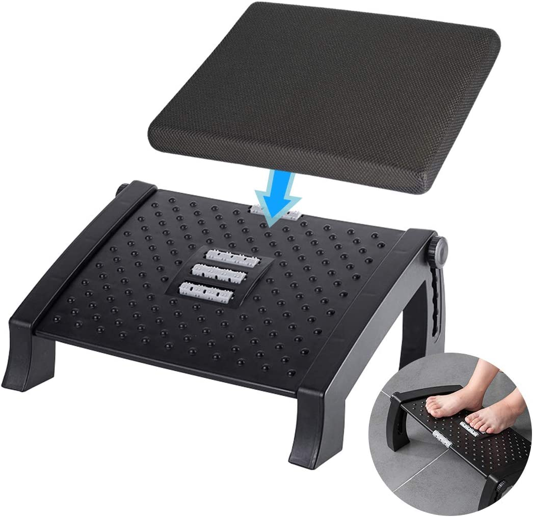 Adjustable Height Foot Rest Under Desk at Work - 6 Height Sturdy Office Footrest - Added Comfort Memory Foam - Non Slip Bottom - Straighten Back & Hip & Leg and Improve Posture