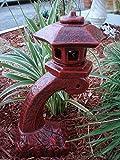 "Concrete Statue Red Pagoda Bow Lantern Oriental Lantern Japanese Decor Art Home Garden 17.5″""HT"