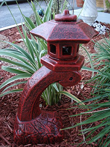 "Concrete Statue Red Pagoda Bow Lantern Oriental Lantern Japanese Decor Art Home Garden 17.5″"" HT For Sale"