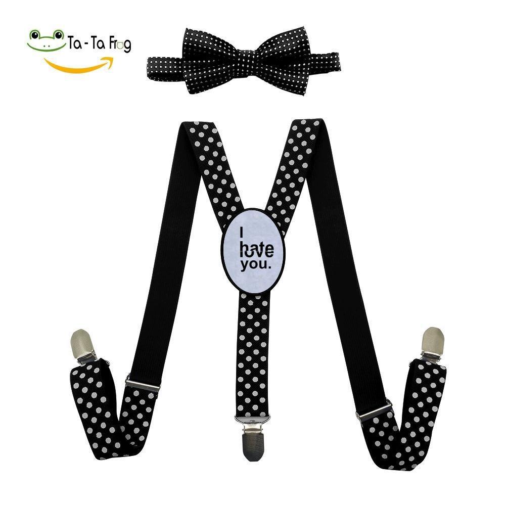 Xiacai I Hate Or Love You Suspender&Bow Tie Set Adjustable Clip-On Y-Suspender Boys
