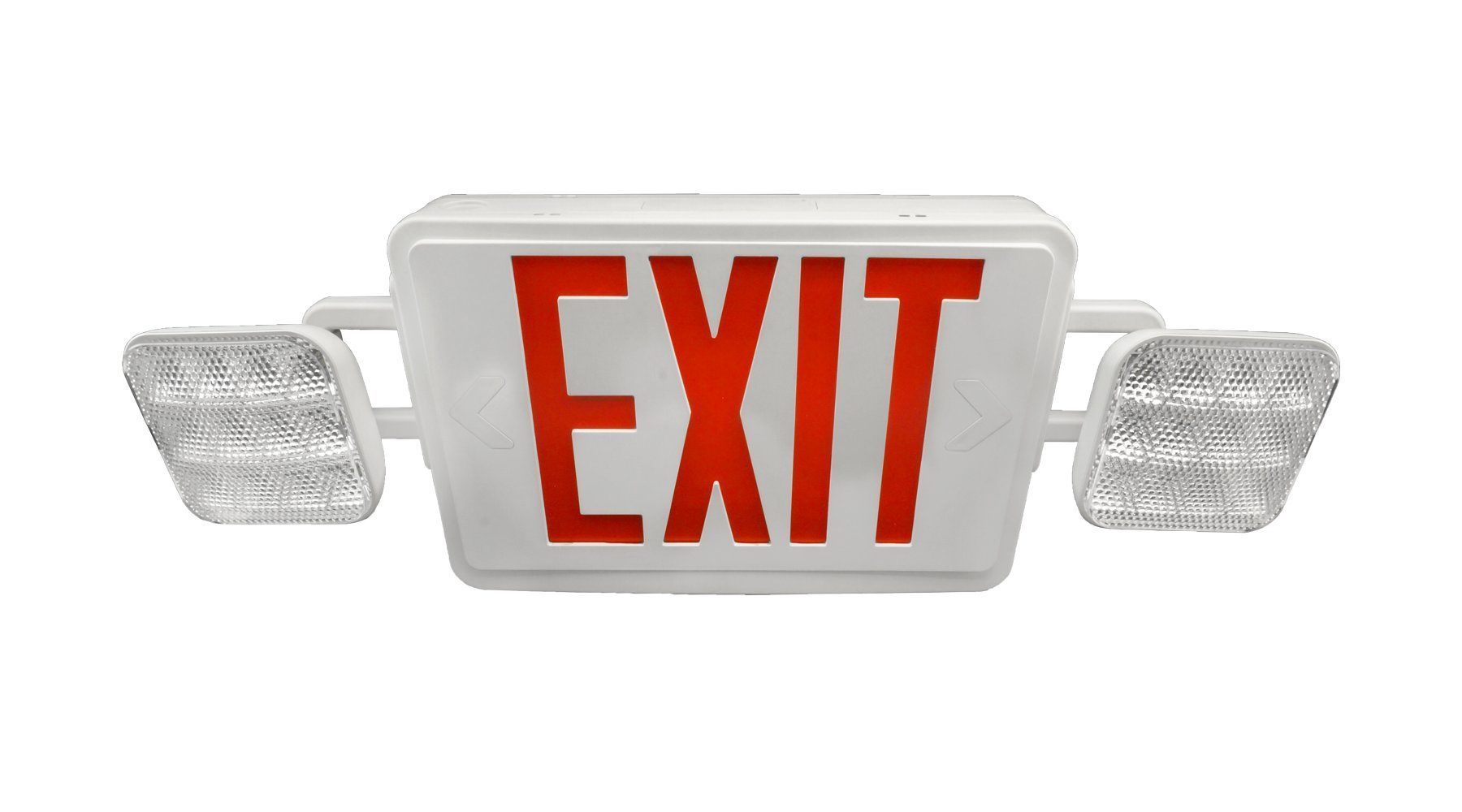 NICOR Lighting Remote Capable LED Emergency Exit Sign with Dual Adjustable LED Heads, White with Red Lettering (ECL1-10-UNV-WH-R2R) by NICOR Lighting (Image #4)