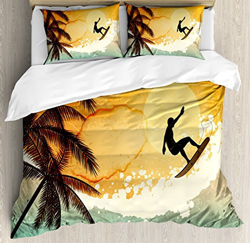 - Ambesonne Grunge Duvet Cover Set Queen Size, Illustration of Tropical Island Surfer on Sea Waves and Palms at Sunset, Decorative 3 Piece Bedding Set with 2 Pillow Shams, Turquoise Orange