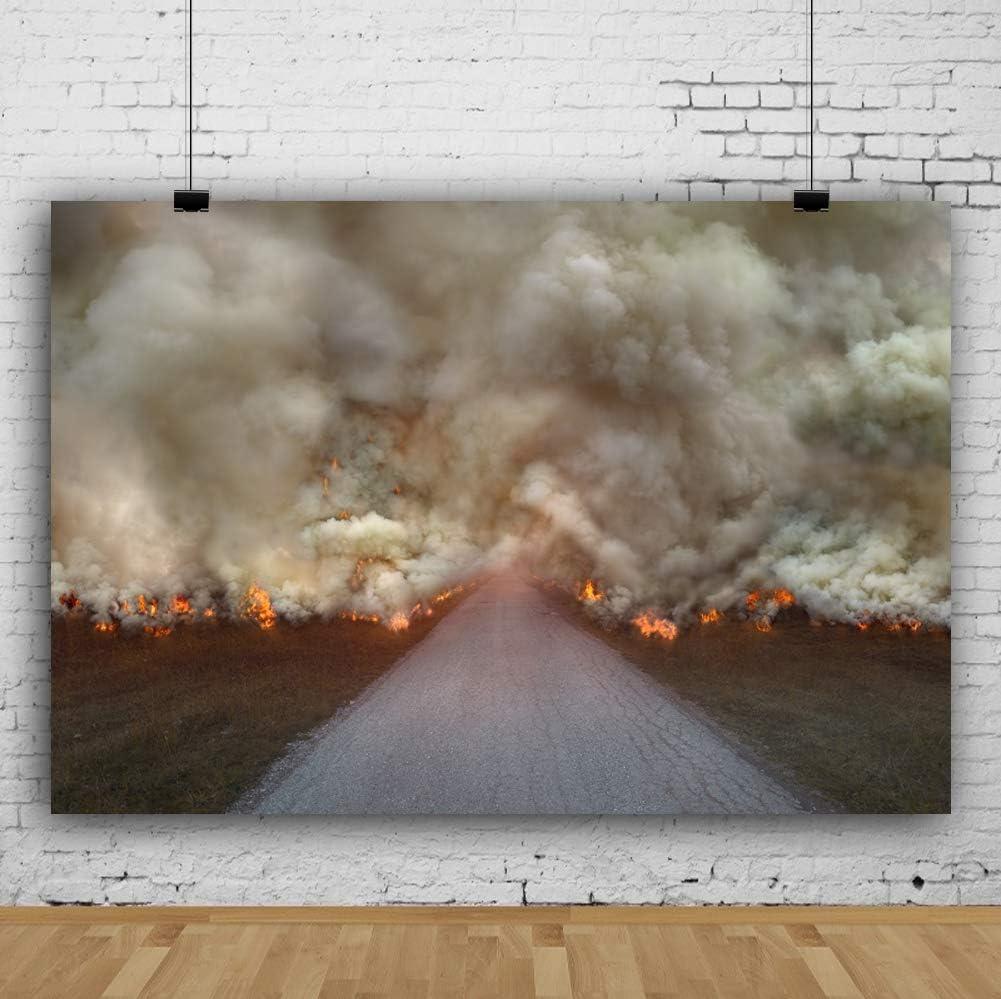 Leowefowa Great Fire Heavy Smoke Backdrop 7x5ft Vinyl Photography Backgroud Country Road Winter Yellow Meadow Fire Accident Dreamy Backdgroud Dire Drill Children Audlt Art Photo Studio Props