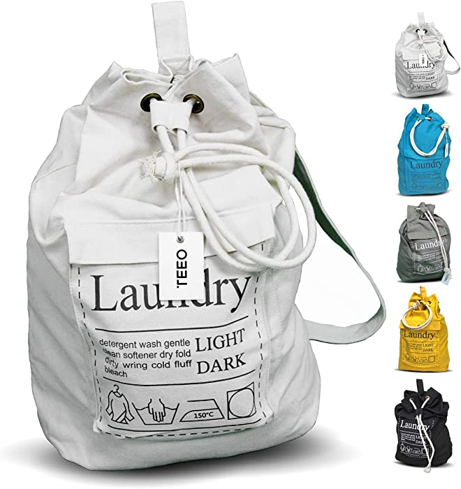 "Teeo Laundry Bag Backpack Large Spacious 25""X20"" Drawstring 100% Sturdy Cotton Canvas with Strap for College Students Dorm Room Clothes Hamper Storage Washer Organizer (Natural)"