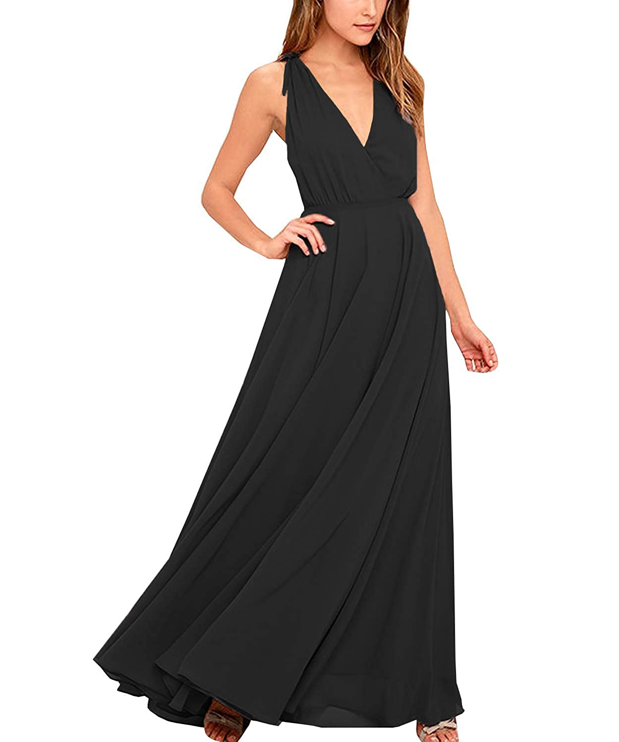 a6cbb4827a6 WuliDress Women s Chiffon V Neck Bridesmaid Dresses for Weddings Long  Sleeveless Formal Prom Evening Gown at Amazon Women s Clothing store