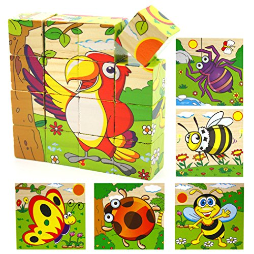 VolksRose 16 Pcs Wooden Cube Block Jigsaw Puzzles - Insects Pattern Blocks Puzzle for Child 1 Year and Up for Your Kids ()