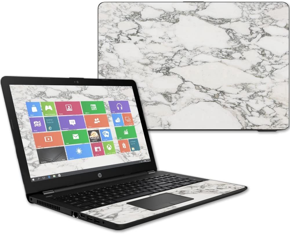 """Mightyskins Skin Compatible with Hp 15t Laptop 15.6"""" (2017) - White Marble 