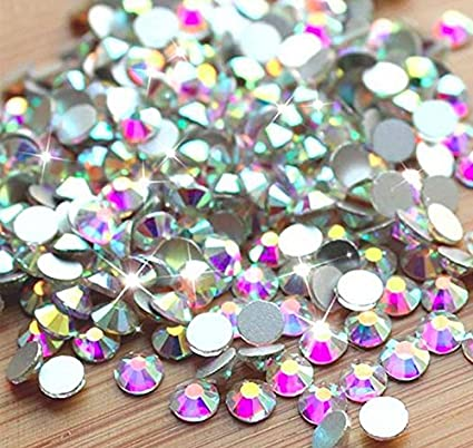 f3c4b8db48 Crystal AB / Crystal FlatBack Glass Rhinestones Glue Fix (ss6 (2mm) 1440  pcs, Crystal AB) [By Zealer] Come with NO CASE