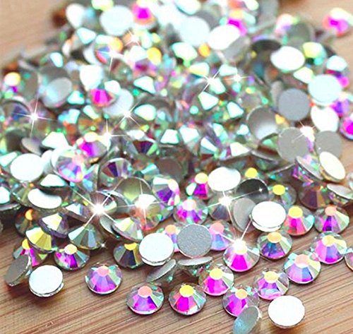 Crystal AB / Crystal FlatBack Glass Rhinestones Glue Fix (ss30 (6mm) 288 pcs, Crystal AB) [By Zealer] (6mm) Come with NO ()