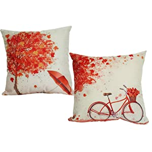 ULOVE LOVE YOURSELF 2Pack Maple Tree Throw Pillow Cover Autumn Leaf Happy Falll Cotton Linen Square Decorative Cushion Cover with Bicycle&Umbrella Pattern 18x18 Inches (Maple)
