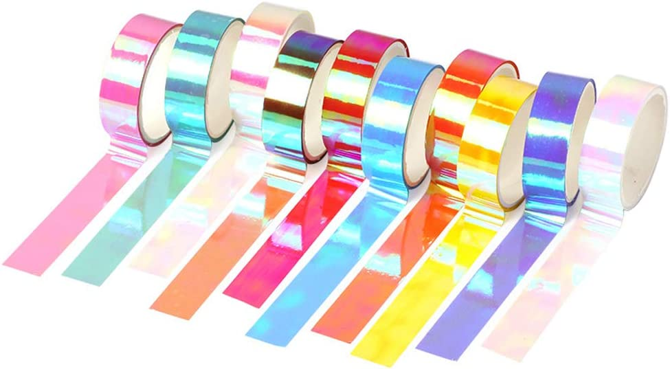 Huture 10 Rolls Holographic Washi Masking Tape DIY Rainbow Paper Scrap Booking Arts Crafts Home Office Decor Vibrant Writable Easy Tear No Residue Tape for Children Gifts Warpping, Assorted Color