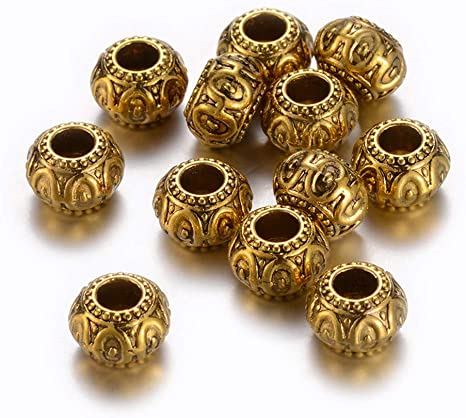 100pcs Retro Spacer Beads for Snake European Charm Chain Cable Bracelets 6mm
