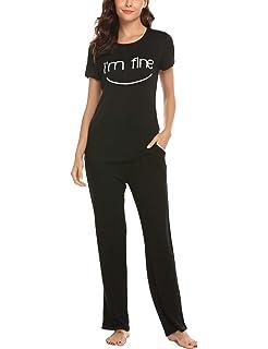 84f610b554 Hotouch Womens Pajama Set Printed Henley Short Sleeve Top   Elastic Waist  Pants Sleepwear Pjs
