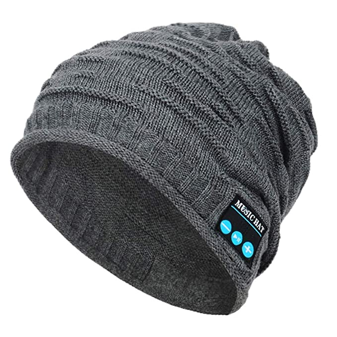 0d4c8ee9a67 welltop Bluetooth Beanie Hat Knit Skull Hat Bluetooth Trendy Music Hat with  Wireless Headphones Hands-