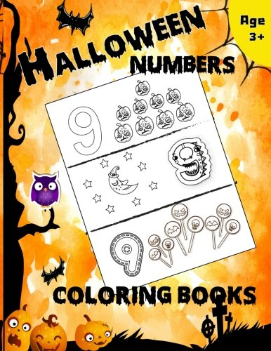 Halloween Numbers Coloring Books: Fun Early Learning of First Easy Words (Preschool Prep Activity Learning) ()