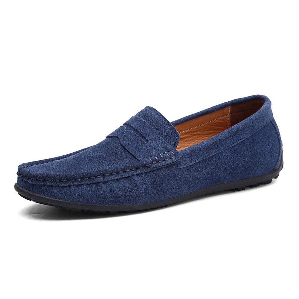 Zapatos de Cuero Planos Ocasionales de los Holgazanes de los Hombres Que conducen Color Múltiple 46 EU|Sea Blue