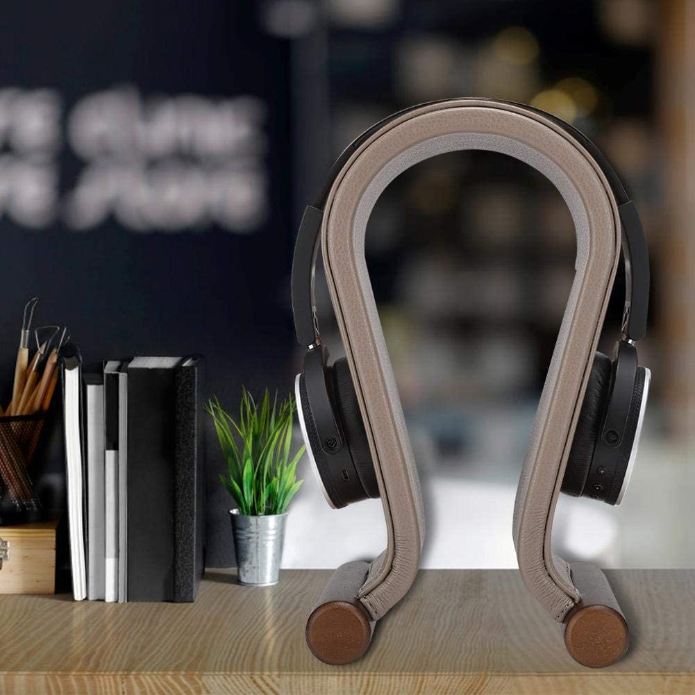 Earphone Stand for All Headphones Size Excellent Present Headphone Stand PU Leather Simple Beautiful Headset Holder with Non-Slip Rubber Feet on The Base Brown
