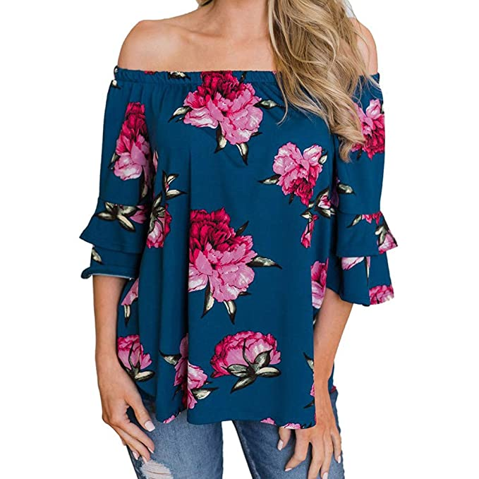 4b656978364 HIKO23 Women's Plus Size Off Shoulder Floral Print Tunic 3/4 Flare Sleeves  Fashion Casual Irregular Tops T-Shirt Blouses: Amazon.ca: Clothing &  Accessories