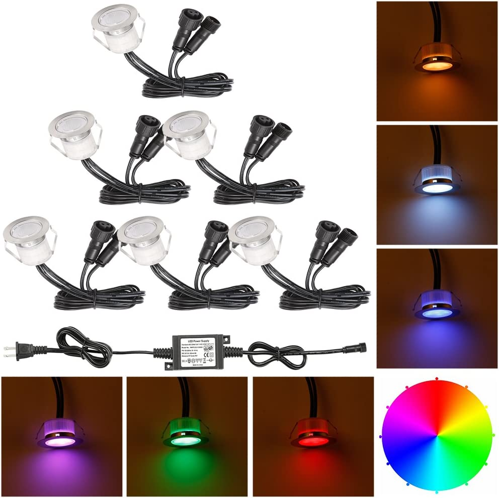 FVTLED 20pcs Low Voltage LED Deck Lights Kit Garden Decoration Multi-Color RGB Light Outdoor Recessed Wood Decking Yard Patio Stairs Landscape In-ground Lighting