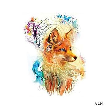 9d8e6b0133e03 WYUEN 5 Sheets Fox Temporary Tattoo Waterproof Fake Tattoo Sticker For Women  Men Body Art 9.8X6cm FA-194: Amazon.ca: Beauty